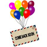 COME BACK SOON on envelope pulled by coloured balloons isolated on white background Royalty Free Stock Image