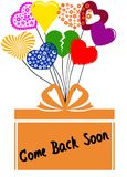 COME BACK SOON on gift box with multicoloured hearts Royalty Free Stock Photography