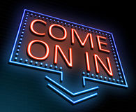 Come on in concept. 3d Illustration depicting an illuminated neon sign with a & x22;come on in& x22; concept Royalty Free Stock Images