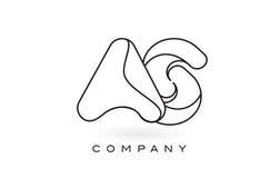 COME contorno del profilo di Logo With Thin Black Monogram della lettera del monogramma Fotografie Stock
