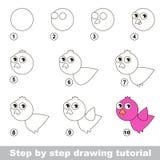 Come disegnare un uccello rosa Fotografie Stock Libere da Diritti