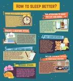 Come dormire meglio Infographics di vettore Immagini Stock Libere da Diritti