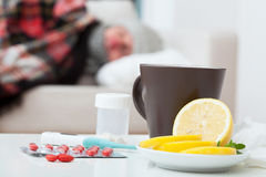 Come down with flu Stock Images