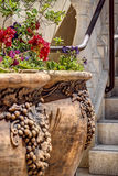 Rustic Flower Pots at Stairway of Winery. Ornate and Rustic Flower Pots line the Stairway of a Napa Winery and Tasting Room Royalty Free Stock Photography