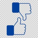 Come e di avversione icona I pollici aumentano e sfogliano illustrazione giù, della mano o del dito su fondo trasparente Simbolo  Immagini Stock Libere da Diritti
