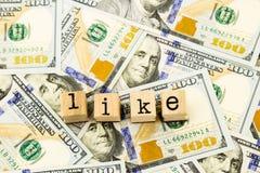 Come espressione sulle banconote del dollaro dei soldi Fotografie Stock