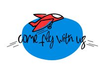 Come fly with us. Illustration and title for a recruitment ad. Recruitment, teambuilding and personal growth concept. Air transport slogan as well. Cartoon stock illustration