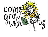 Come grow with us. Recruitment, teambuilding and personal growth concept. Sunflowers. Hand lettering vector illustration
