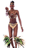 Come on guys, lets dance with me. Samba dancer calling for dancing with her Stock Photo