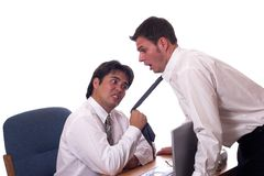 Come here 2. Mad employee pulls on his bosses tie Stock Photography