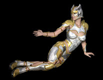 Come here. 3d rendering of a female warrior in armor as Illlustration Stock Photos