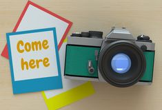 Come here, message on photo frame Royalty Free Stock Photo
