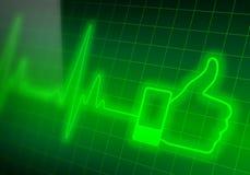 Come il segno sul cardiofrequenzimetro verde Fotografie Stock