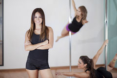 Come join our pole fitness class Stock Photo