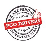 We are hiring PCO Drivers for immediate start - grunge stamp / label. Come and join us! We are hiring PCO drivers! Grunge printable sticker / label / stamp Royalty Free Stock Image