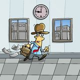 Come late. Illustration of someone who is in a hurry because of late royalty free illustration
