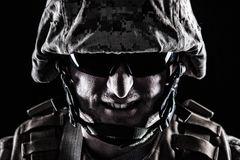 Come on, make my day. Shot of US marine face with grin on his face royalty free stock photos