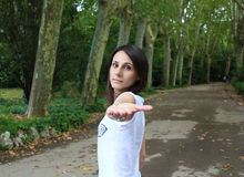 Come with me. Girl in park of Madrid Stock Photography