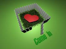 Come in my love. 3D heart with open fence. Text - Come In Stock Photo