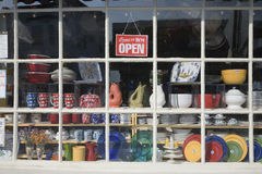 Come in we are open. Closeup Come In We are Open Sign in store window in Concord, MA outside of Boston Royalty Free Stock Photography