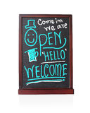 Come in we are open hello welcome on chalkboard Royalty Free Stock Photography
