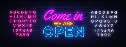 Come in we are Open neon sign vector design template. Open Shop neon text, light banner design element colorful modern stock photos