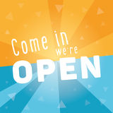 Come in we are open square banner Stock Photography