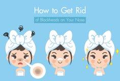 Come ottenere l'illustrazione della ragazza del naso del brufolo di giro royalty illustrazione gratis