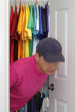 Come Out. Older gay man coming out of the closet royalty free stock image