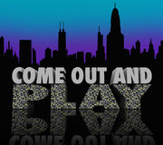 Come Out and Play Nightlife City Skyline Night Life Fun. The words Come Out and Play on a 3d city skyline to illustrate nightlife and having fun going to bars stock illustration
