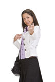 Come over here. Woman making a specific gesture: come over here Stock Photography