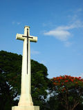 Come in Peace. Big Cross in World War II cemetery Royalty Free Stock Images