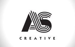 COME progettazione di Logo Letter With Black Lines Linea vettore Illus della lettera Immagine Stock Libera da Diritti