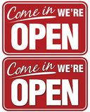 Come In We're Open. Sign. Top sign flat style. Bottom sign has shadowing for a layered look royalty free illustration