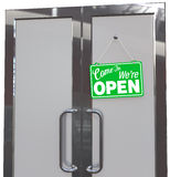 Come In We're OPEN Business door sign. Welcome customers OPEN sign copy space for your lettering logo on door vector illustration