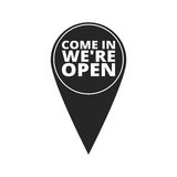 Come In We`re Open - map pointer Stock Photos