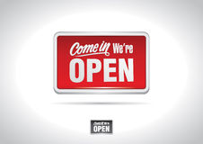 Come in we're open placard icon Stock Photos