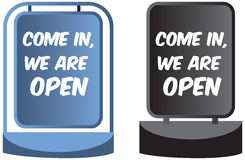 Come in we`re open sign display for shops or business Stock Images