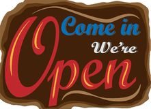 Come In We`re Open sign stock illustration