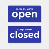 Come in We`re Open Sorry W Are Closed Door Signs. Vector vector illustration