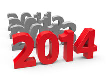2014 come. Represents the new year 2014, three-dimensional rendering Royalty Free Stock Image