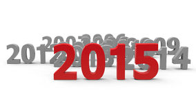 2015 come. Represents the new year 2015, three-dimensional rendering royalty free illustration