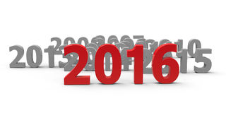 2016 come. Represents the new year 2016, three-dimensional rendering Royalty Free Stock Image