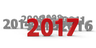 2017 come #2. 2017 come represents the new year 2017, three-dimensional rendering, 3D illustration Royalty Free Stock Image