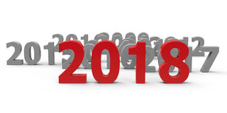 2018 come  2. 2018 come represents the new year 2018, three-dimensional rendering, 3D illustration Royalty Free Illustration