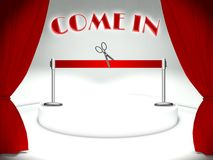 Come in on theater stage red ribbon and scissors Royalty Free Stock Photography