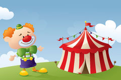 Come to the Circus. Clown and circus tent scene Stock Photos