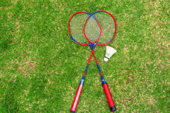 Come to exercise with playing badminton Stock Images