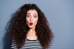 Come to me my sweetheart Closeup photo portrait of glad in good mood voluminous brown hairstyle lady make give air kiss royalty free stock image