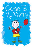 Come to my Party - Boy. Come to my party invite - Boy Stock Images